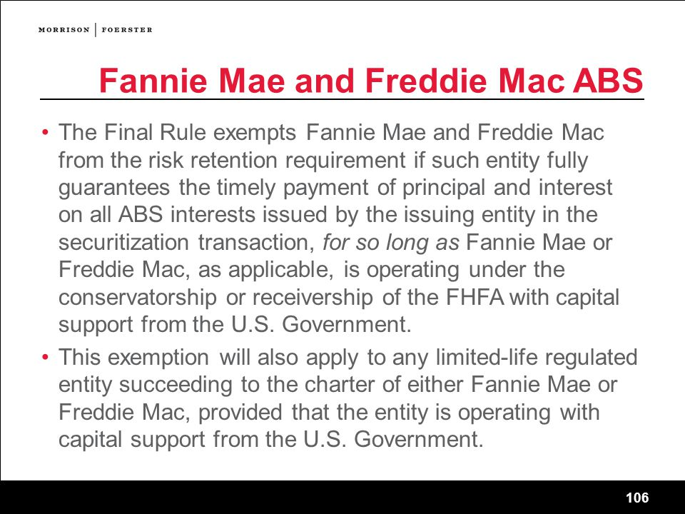 Fannie Mae and Freddie Mac ABS