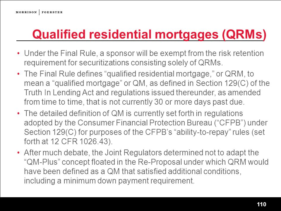 Qualified residential mortgages (QRMs)