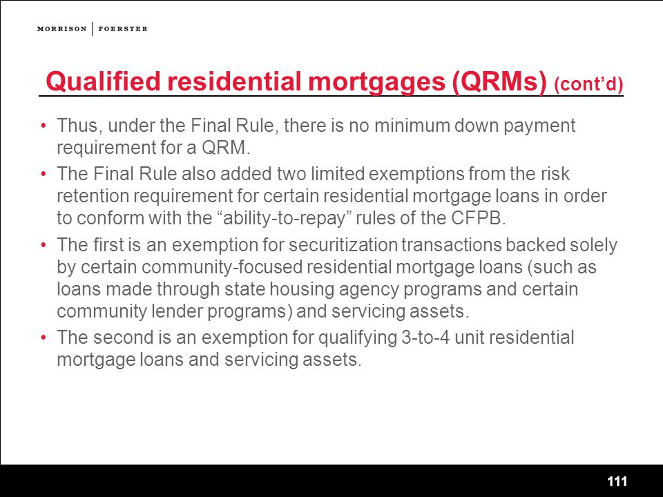 Qualified residential mortgages (QRMs) (cont'd)