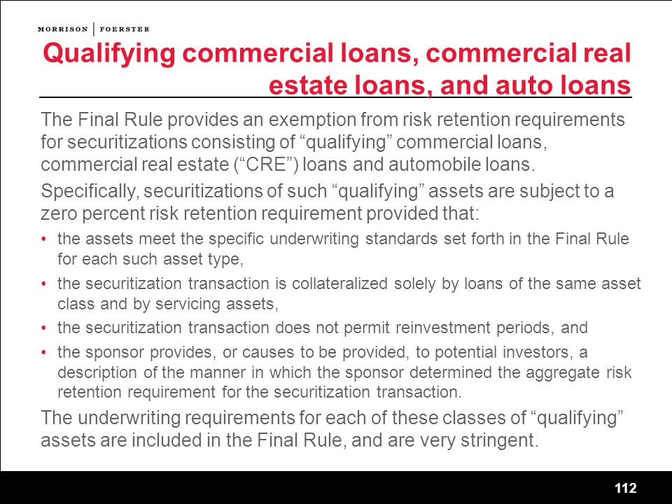 Qualifying commercial loans, commercial real estate loans, and auto loans