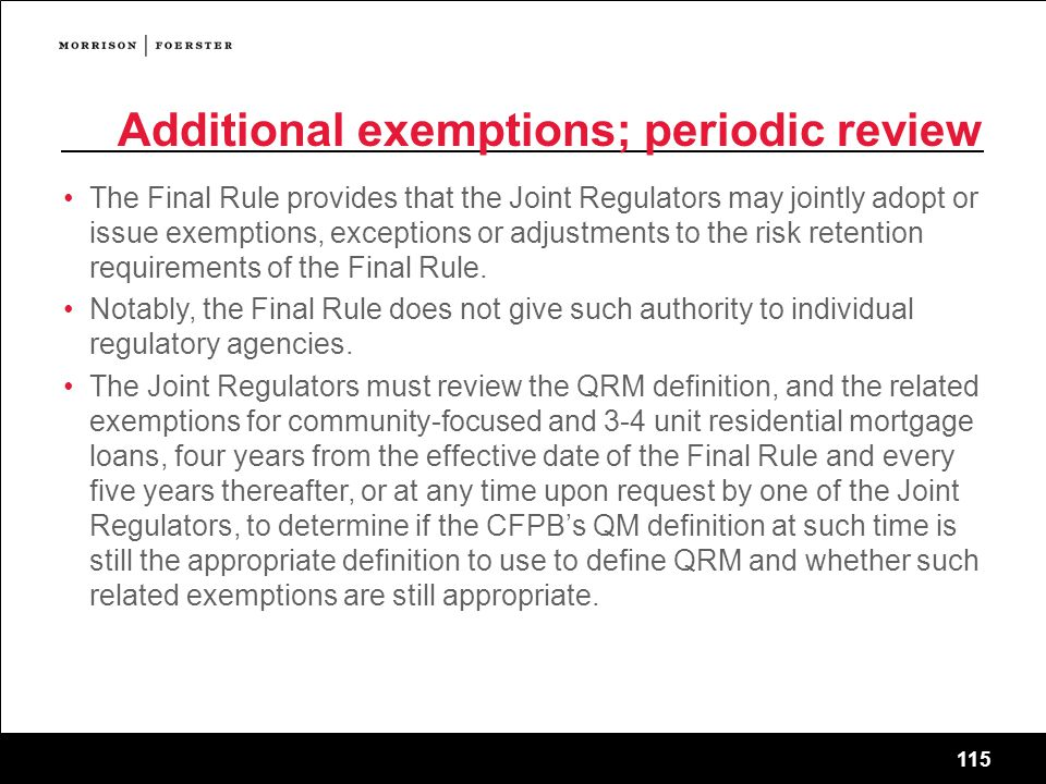 Additional exemptions; periodic review