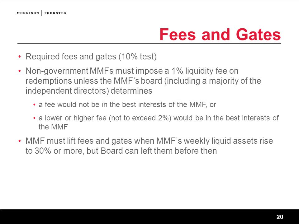 Fees and Gates Required fees and gates (10% test)
