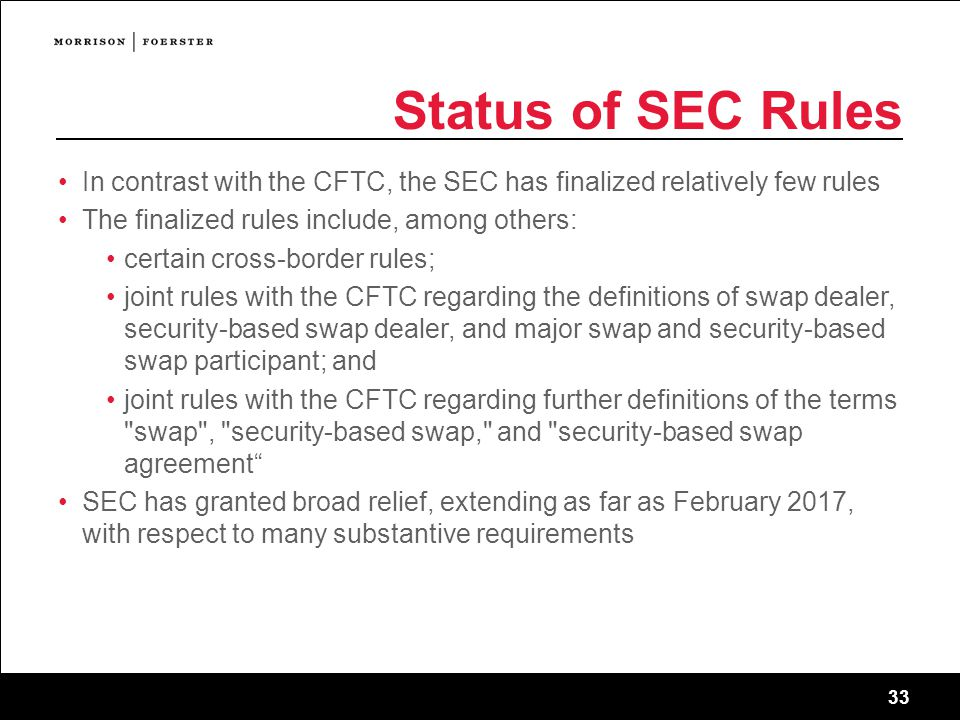Status of SEC Rules In contrast with the CFTC, the SEC has finalized relatively few rules. The finalized rules include, among others: