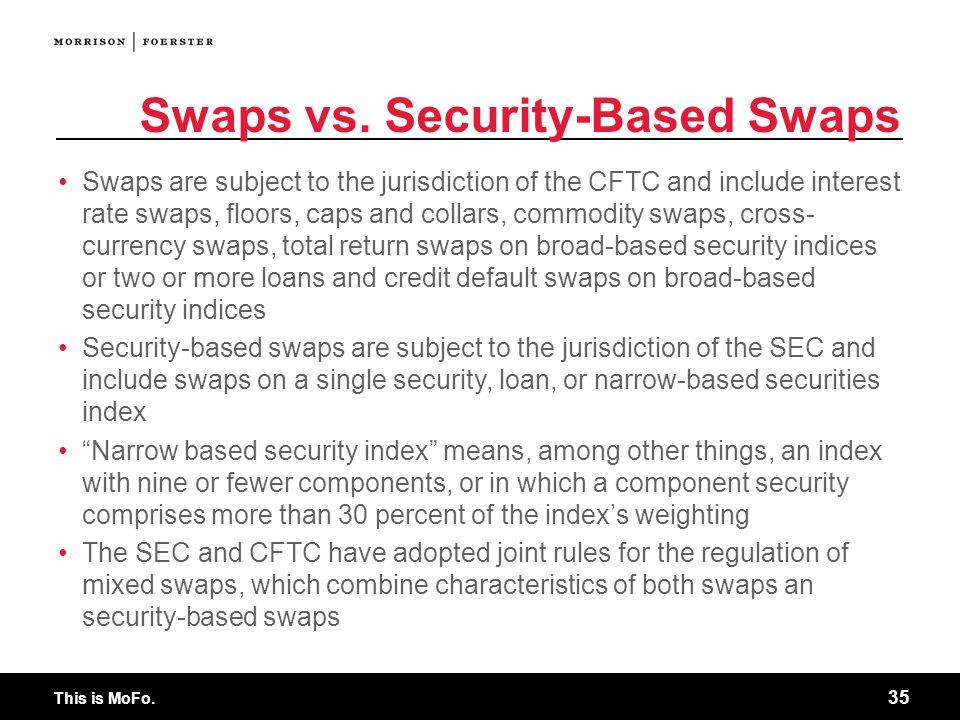 Swaps vs. Security-Based Swaps