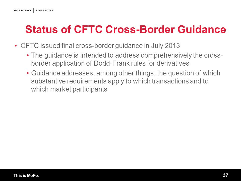 Status of CFTC Cross-Border Guidance