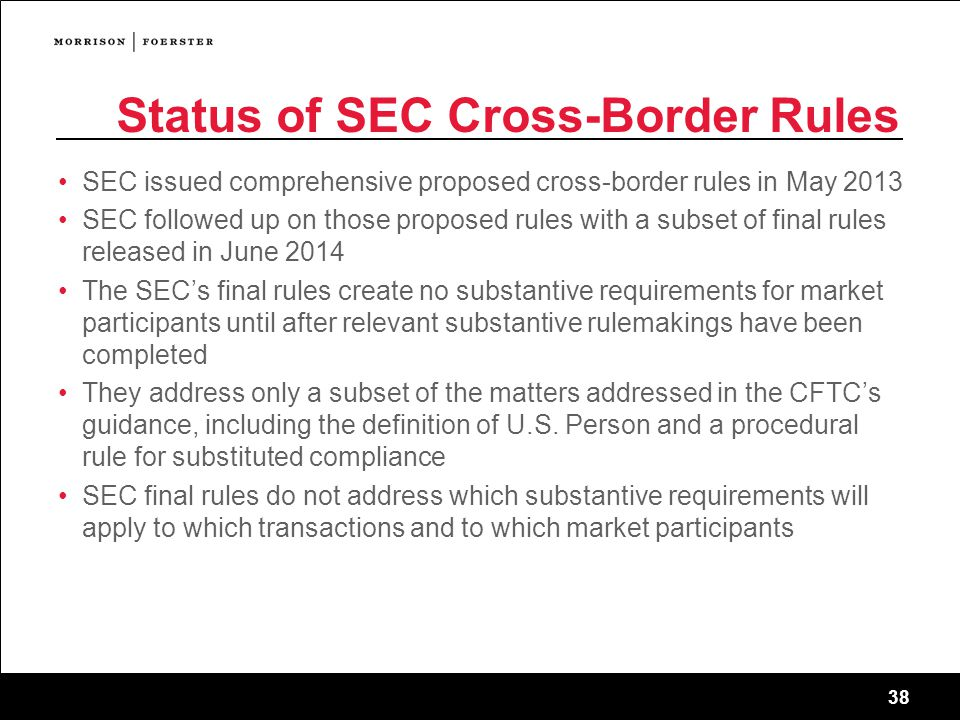 Status of SEC Cross-Border Rules