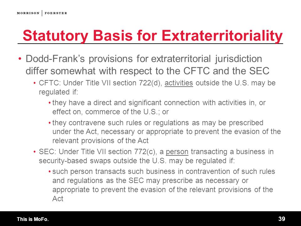 Statutory Basis for Extraterritoriality