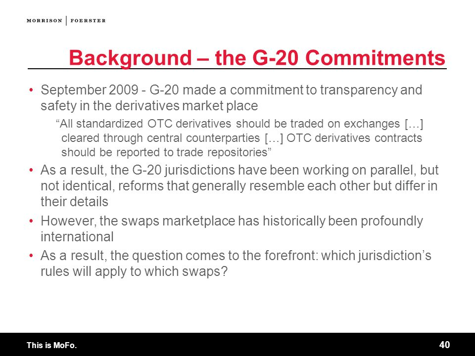 Background – the G-20 Commitments