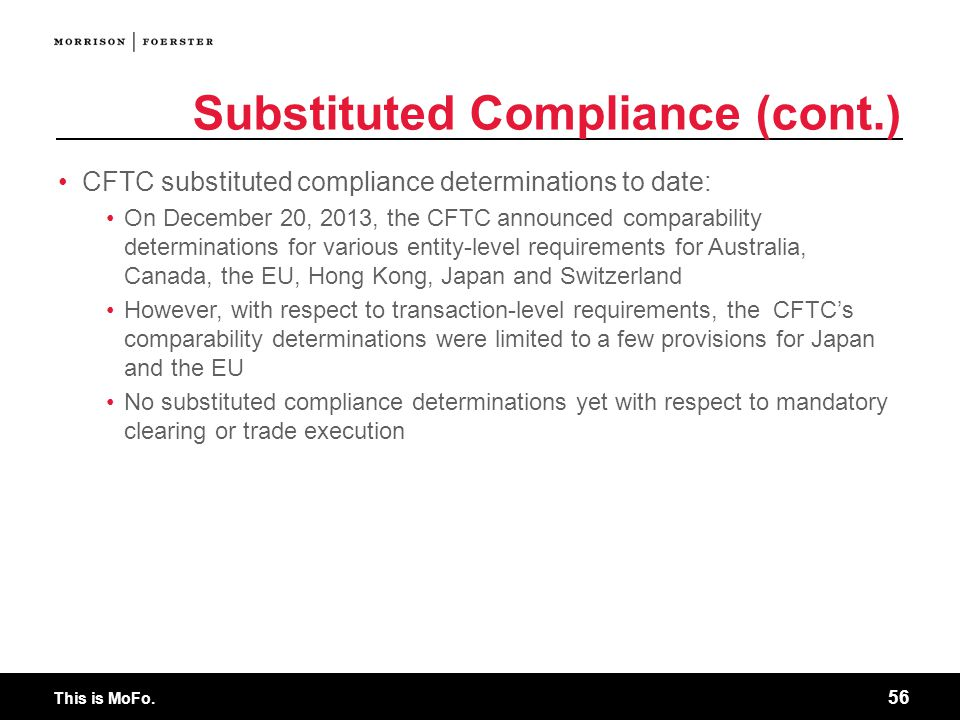 Substituted Compliance (cont.)