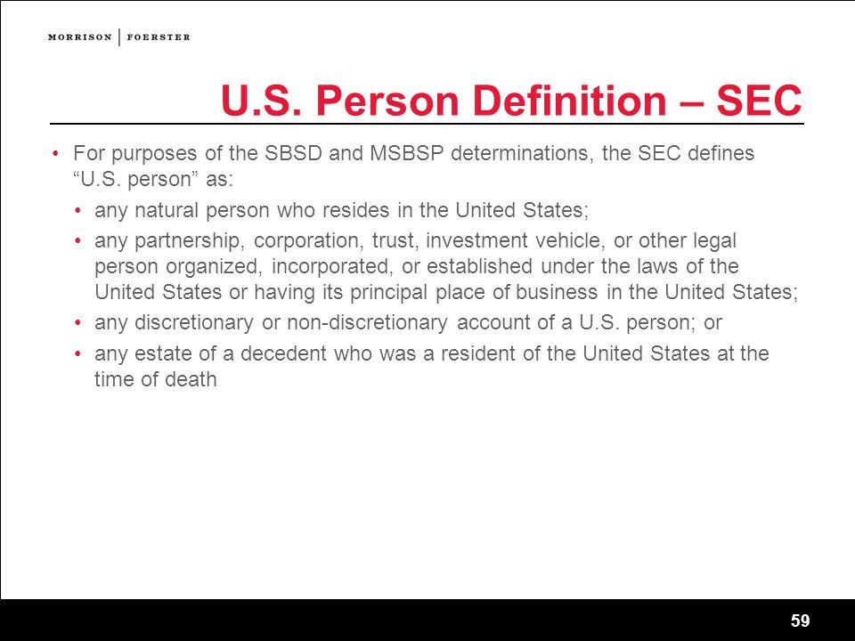 U.S. Person Definition – SEC