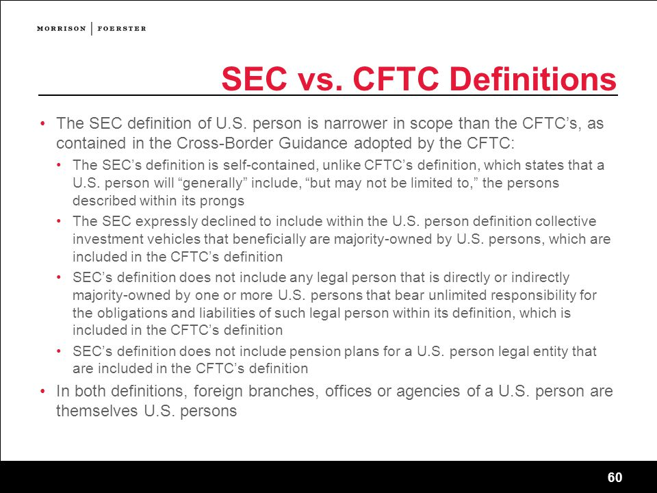 SEC vs. CFTC Definitions