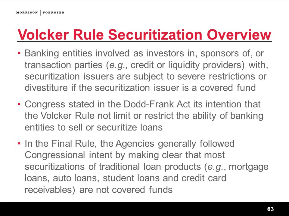 Volcker Rule Securitization Overview