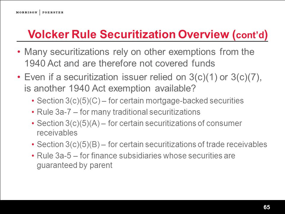 Volcker Rule Securitization Overview (cont'd)