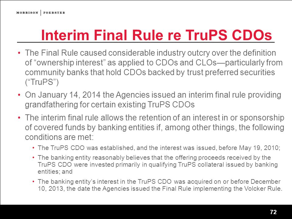 Interim Final Rule re TruPS CDOs