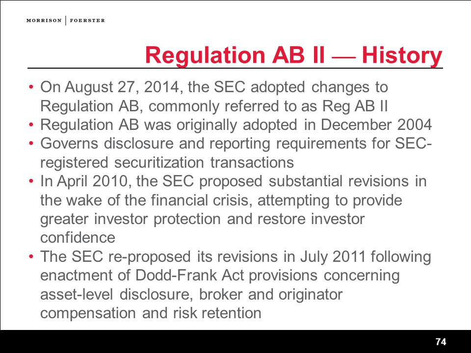 Regulation AB II — History
