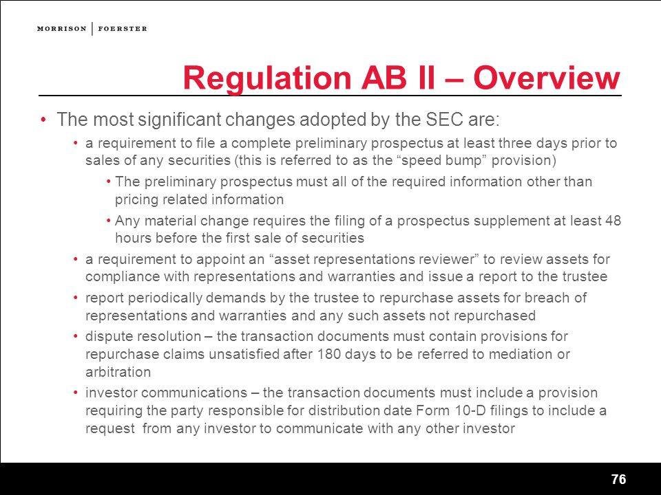 Regulation AB II – Overview