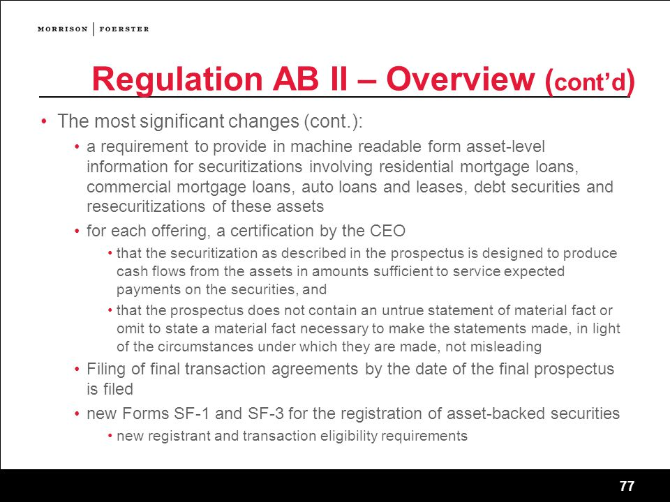 Regulation AB II – Overview (cont'd)