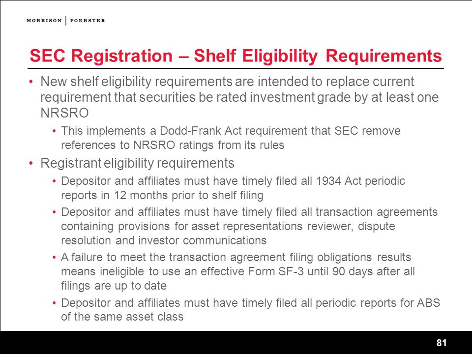 SEC Registration – Shelf Eligibility Requirements