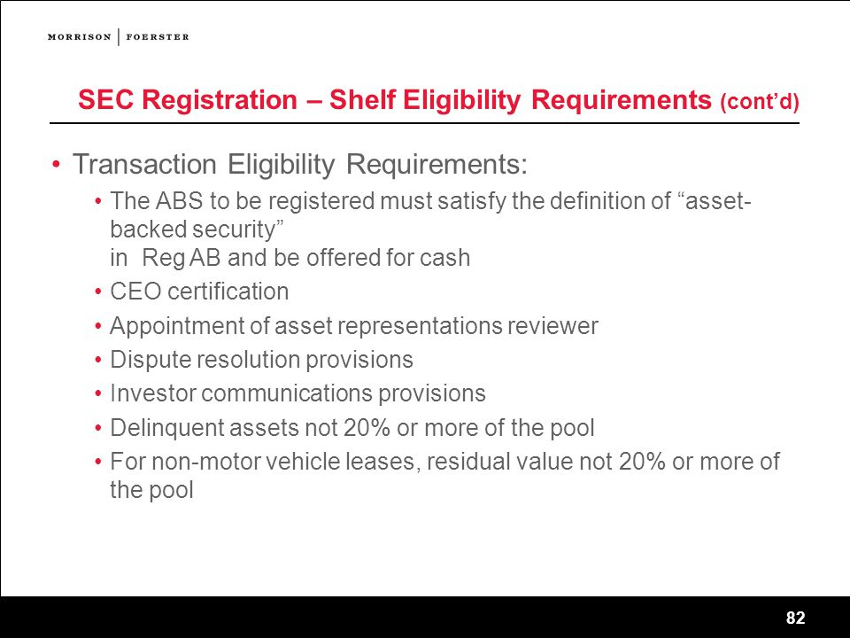 SEC Registration – Shelf Eligibility Requirements (cont'd)