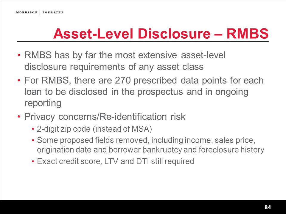 Asset-Level Disclosure – RMBS
