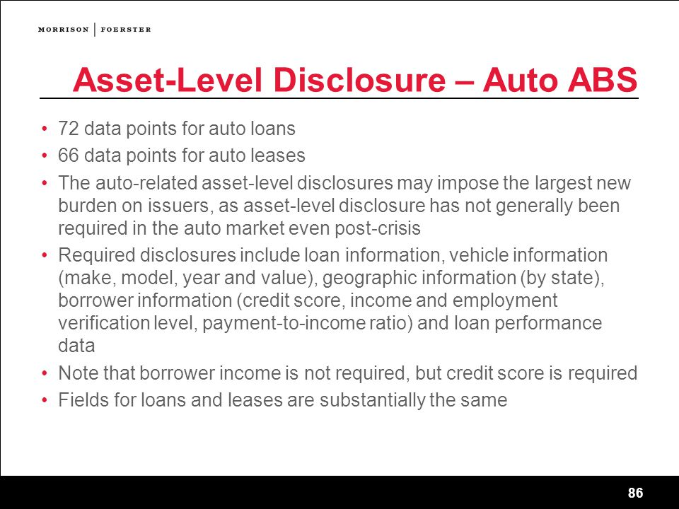 Asset-Level Disclosure – Auto ABS