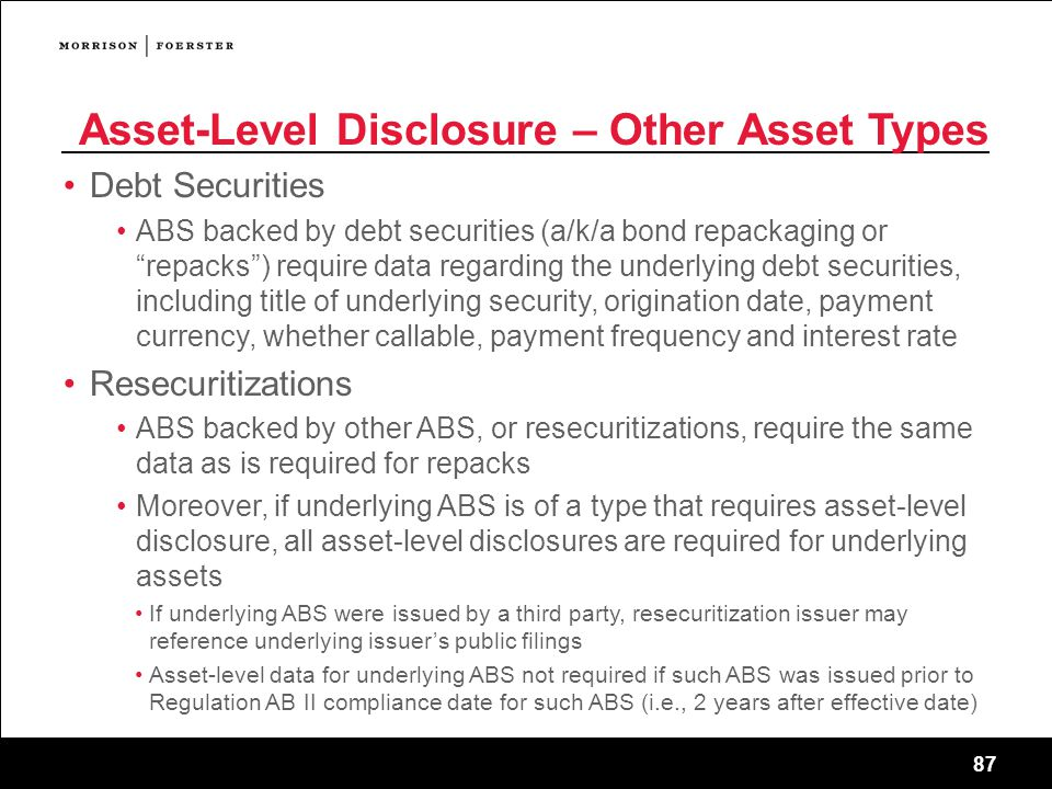 Asset-Level Disclosure – Other Asset Types