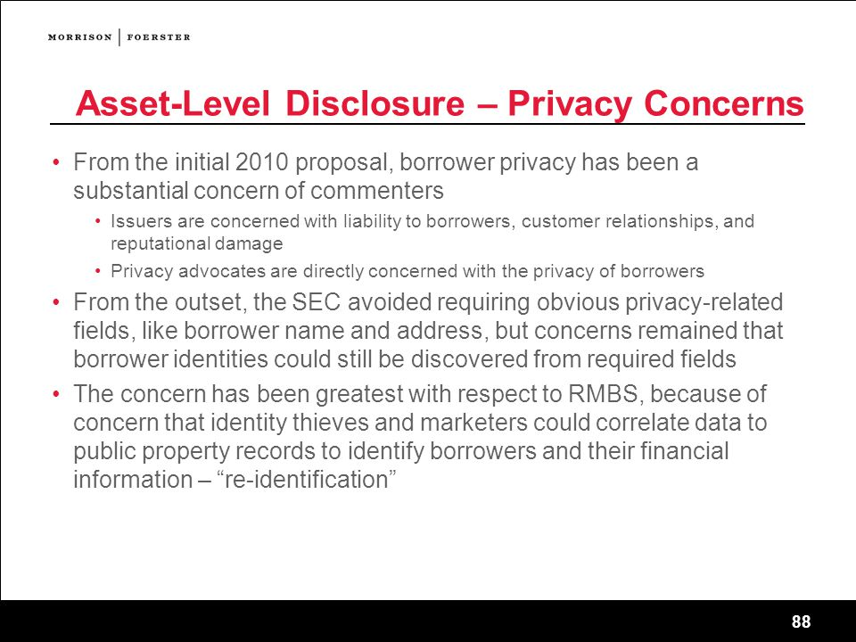Asset-Level Disclosure – Privacy Concerns