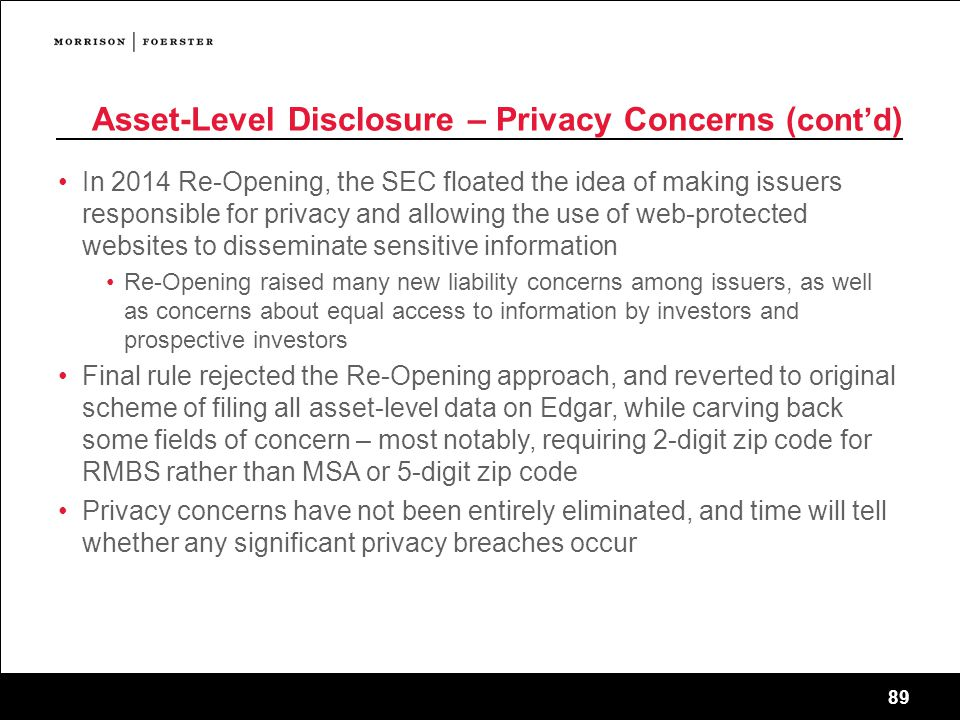Asset-Level Disclosure – Privacy Concerns (cont'd)