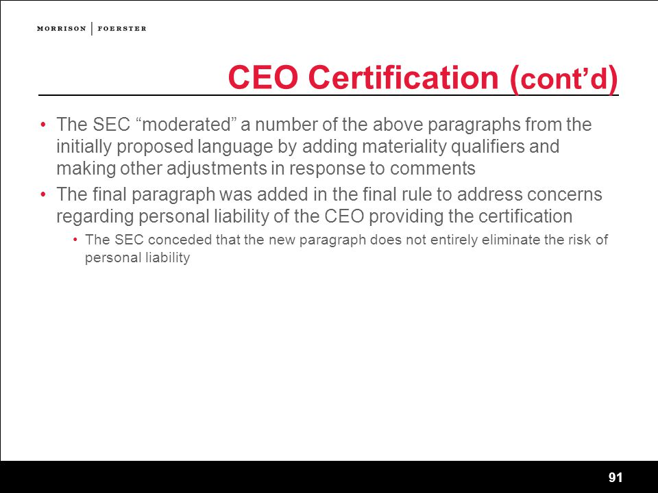 CEO Certification (cont'd)