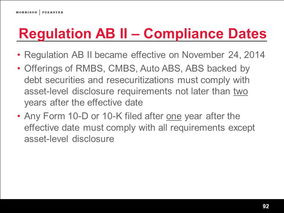 Regulation AB II – Compliance Dates