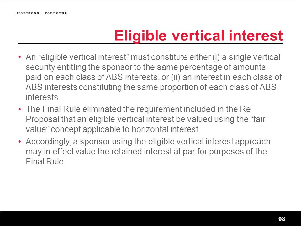 Eligible vertical interest