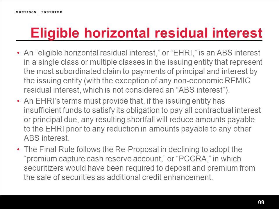 Eligible horizontal residual interest