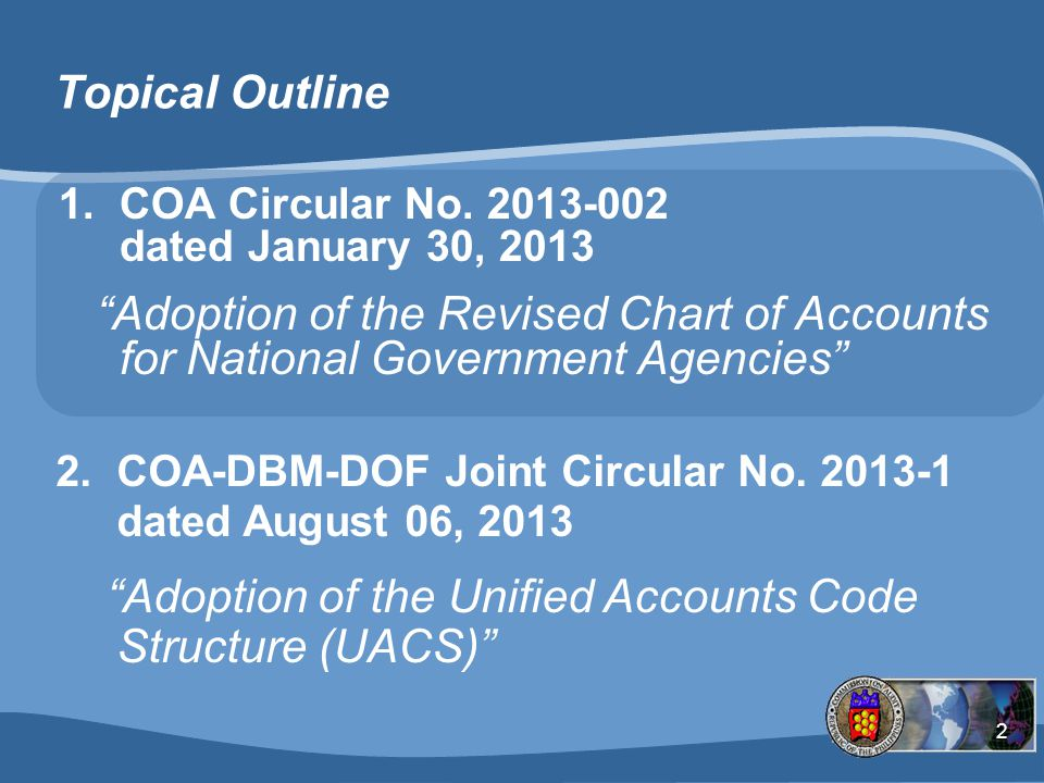 Adoption of the Unified Accounts Code Structure (UACS)