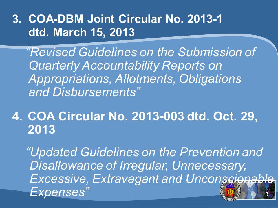COA Circular No. 2013-003 dtd. Oct. 29, 2013