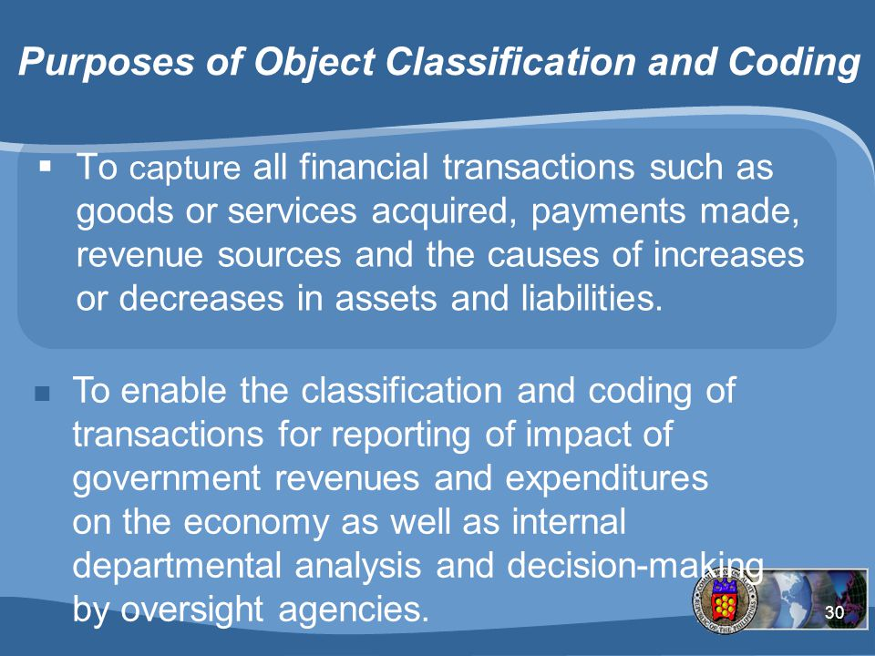 Purposes of Object Classification and Coding