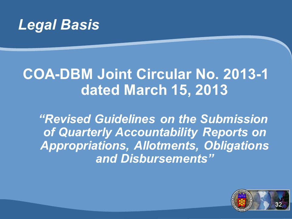 COA-DBM Joint Circular No. 2013-1 dated March 15, 2013