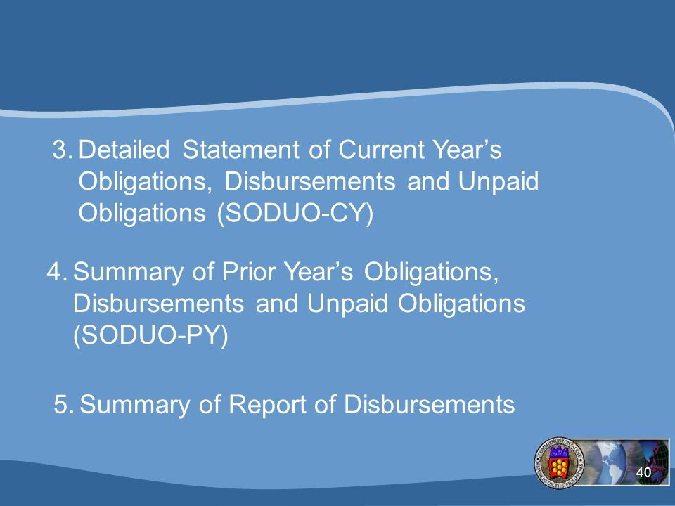 Summary of Report of Disbursements