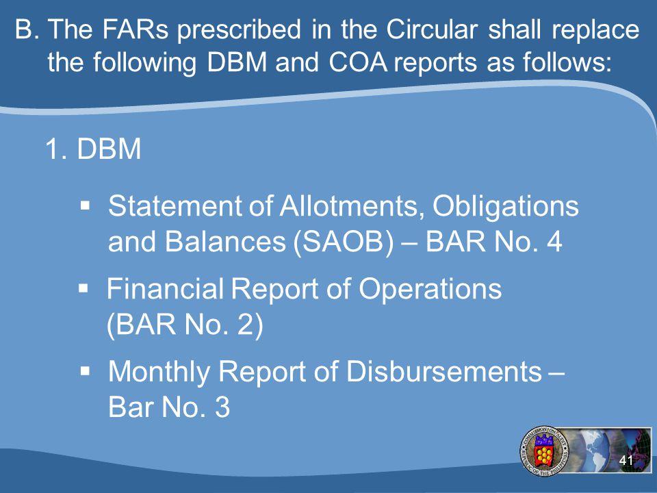 Statement of Allotments, Obligations and Balances (SAOB) – BAR No. 4