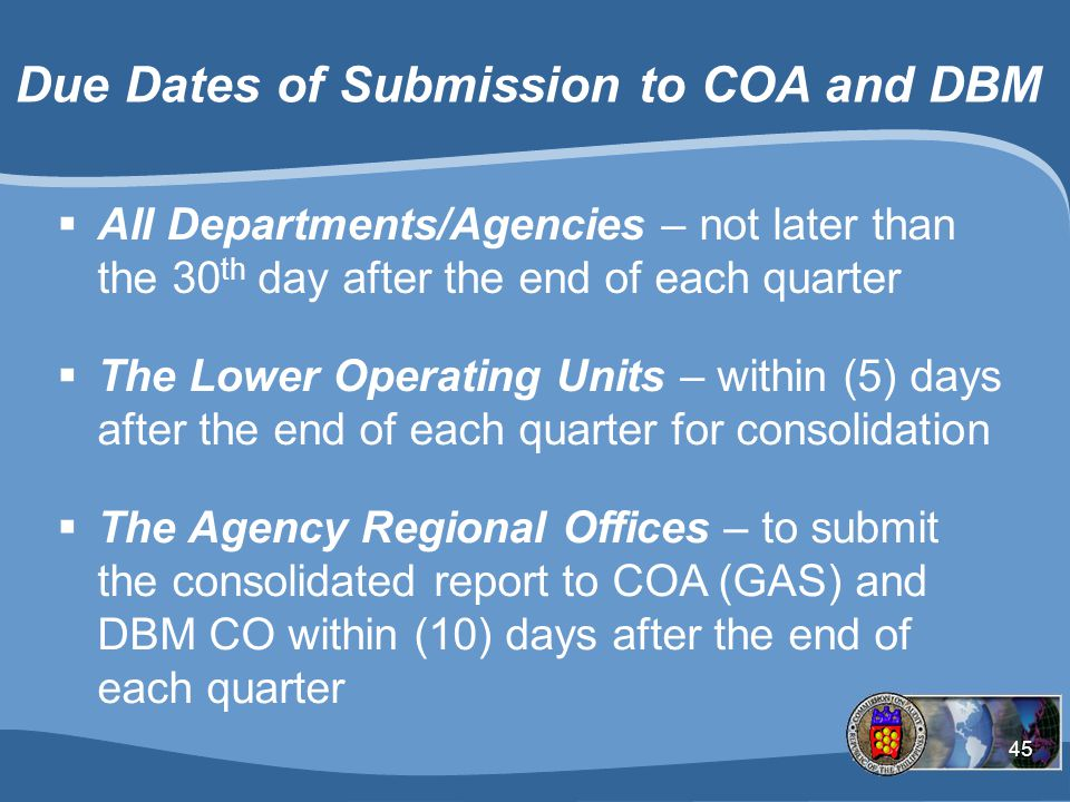 Due Dates of Submission to COA and DBM