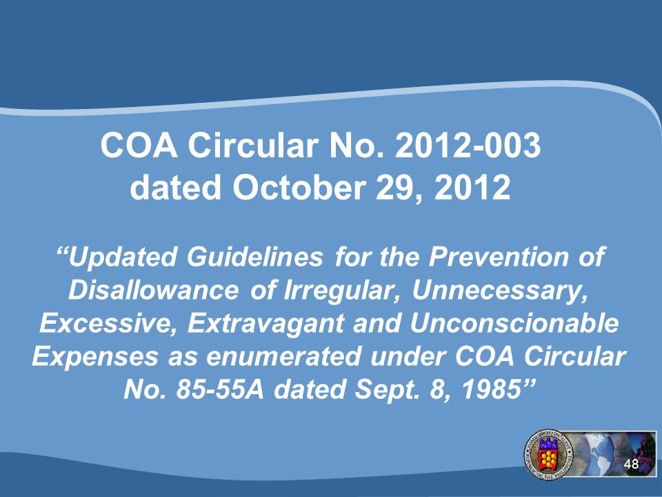 COA Circular No. 2012-003 dated October 29, 2012
