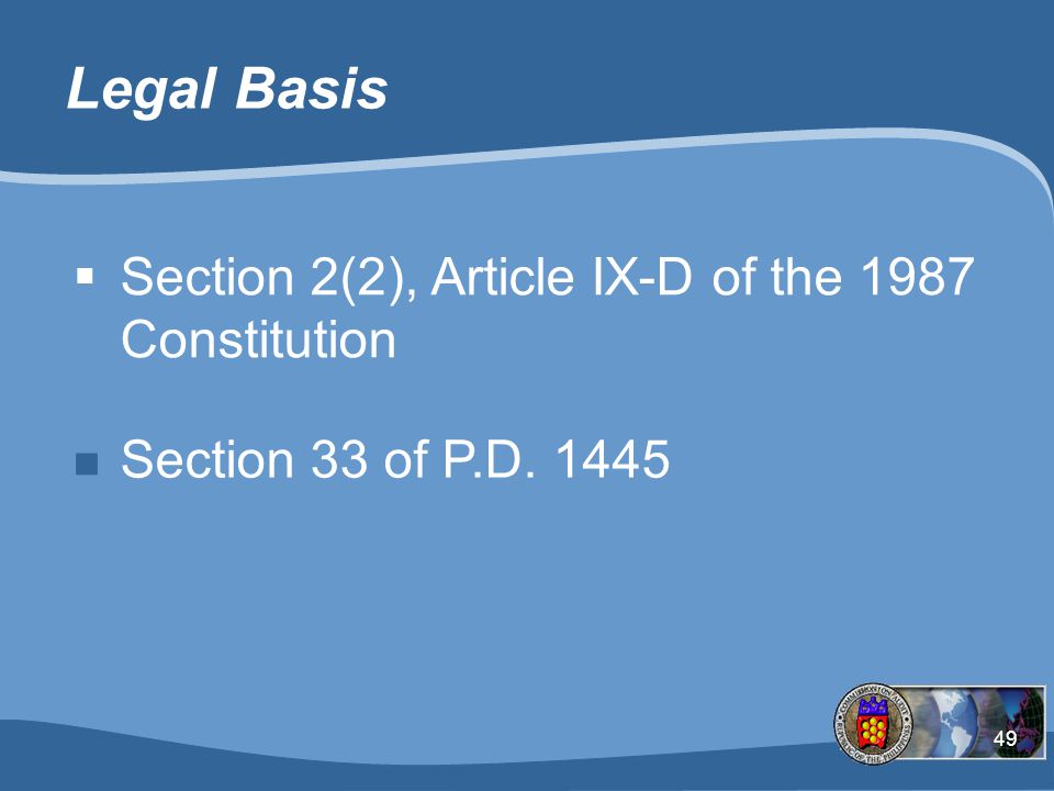 Legal Basis Section 2(2), Article IX-D of the 1987 Constitution