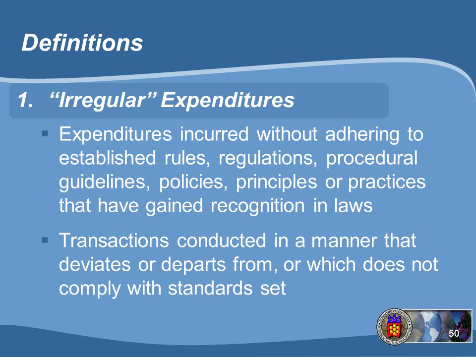 Definitions Irregular Expenditures