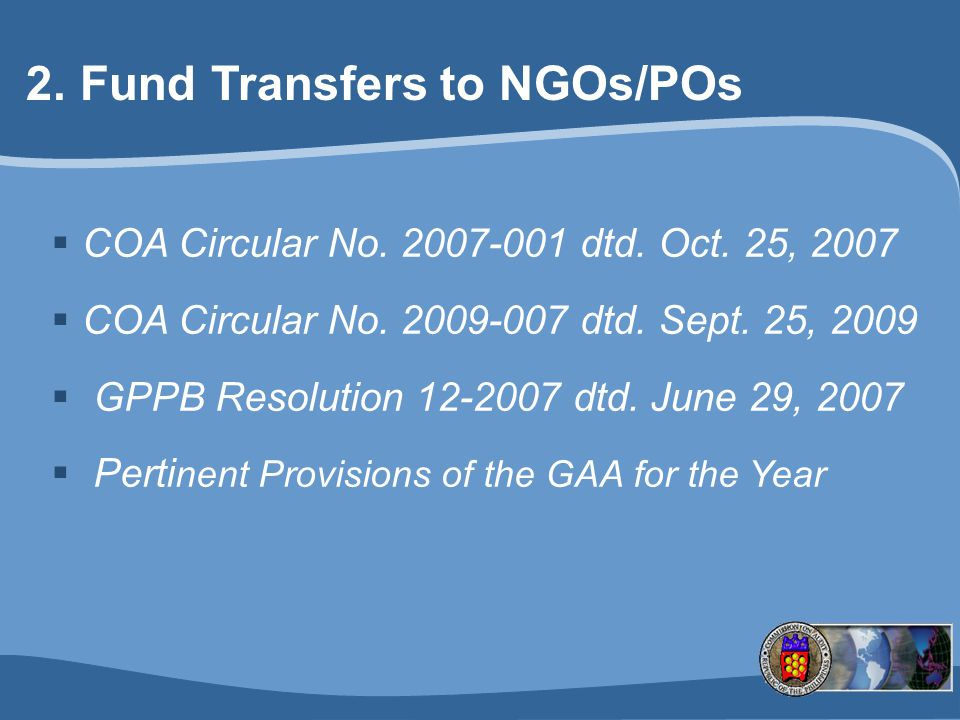 Fund Transfers to NGOs/POs