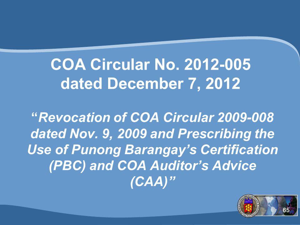 COA Circular No. 2012-005 dated December 7, 2012