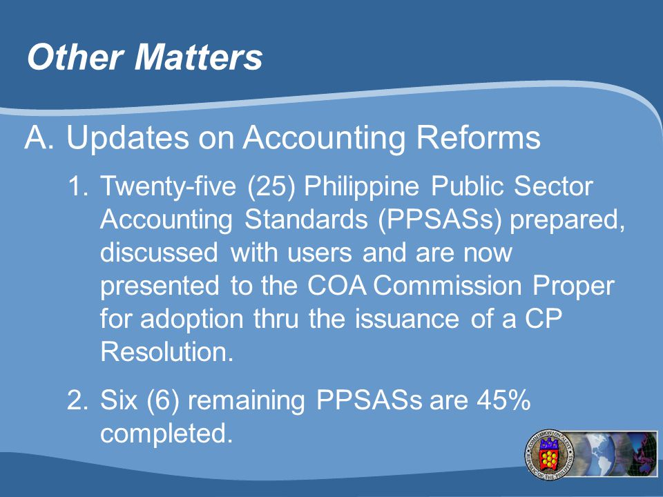 Other Matters Updates on Accounting Reforms