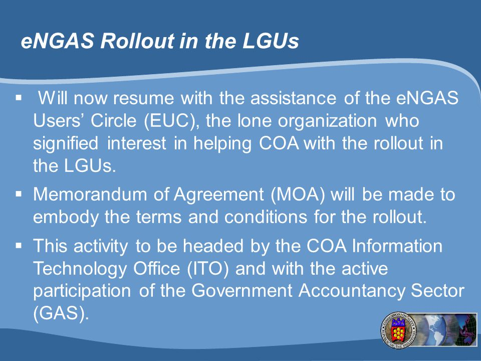 eNGAS Rollout in the LGUs