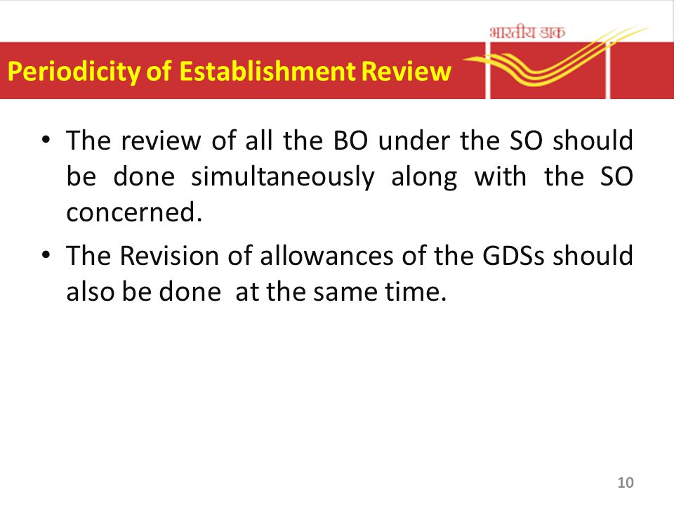 Periodicity of Establishment Review