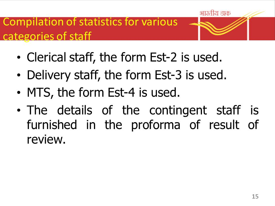 Compilation of statistics for various categories of staff