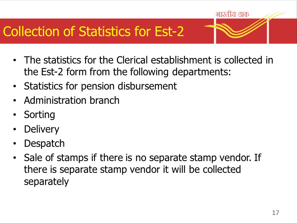 Collection of Statistics for Est-2