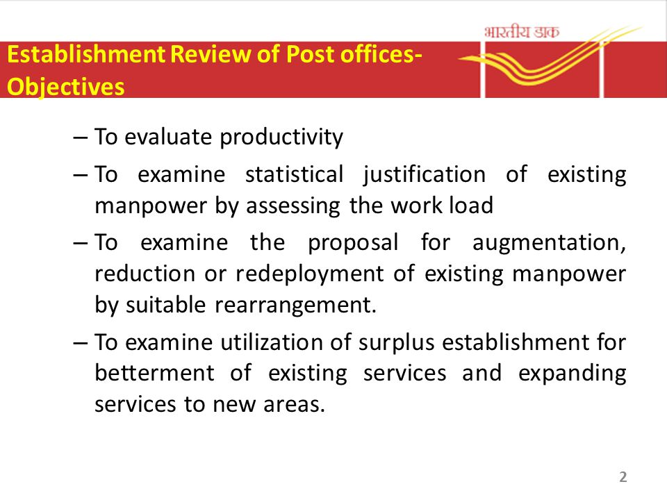 Establishment Review of Post offices- Objectives